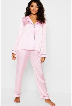 Womens Pink Contrast Piping Button Down Satin Set