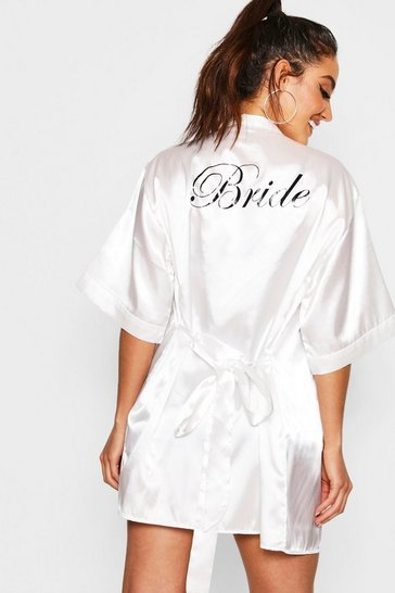 Womens Ivory Satin Bride Robe
