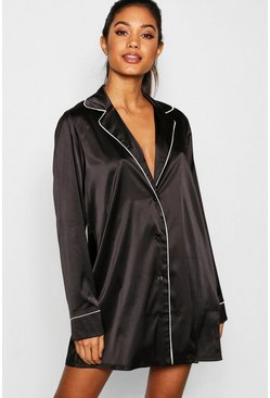 Satin Contrast Piping Nightshirt, Black, Donna