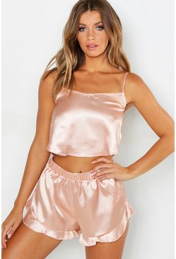 Womens Rose gold Satin Frill Hem Cami and Short Set