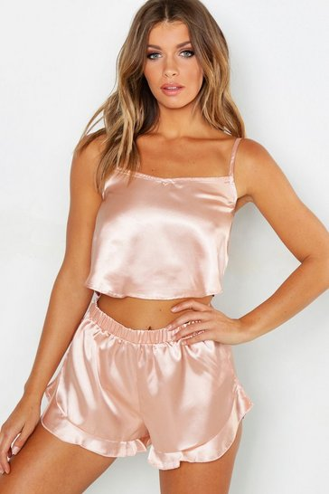 Rose gold Satin Frill Hem Cami and Short Set