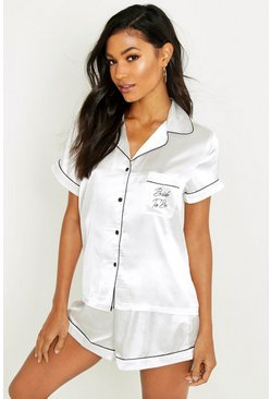 Bride To Be Embroidered Satin Tshirt + Short Set, White, FEMMES