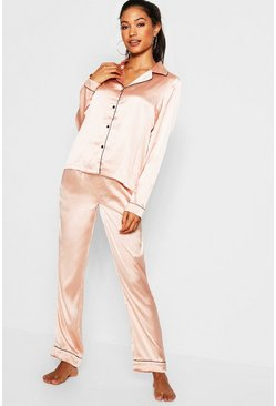 Contrast Piping Button Down Satin Set, Rose gold, Donna