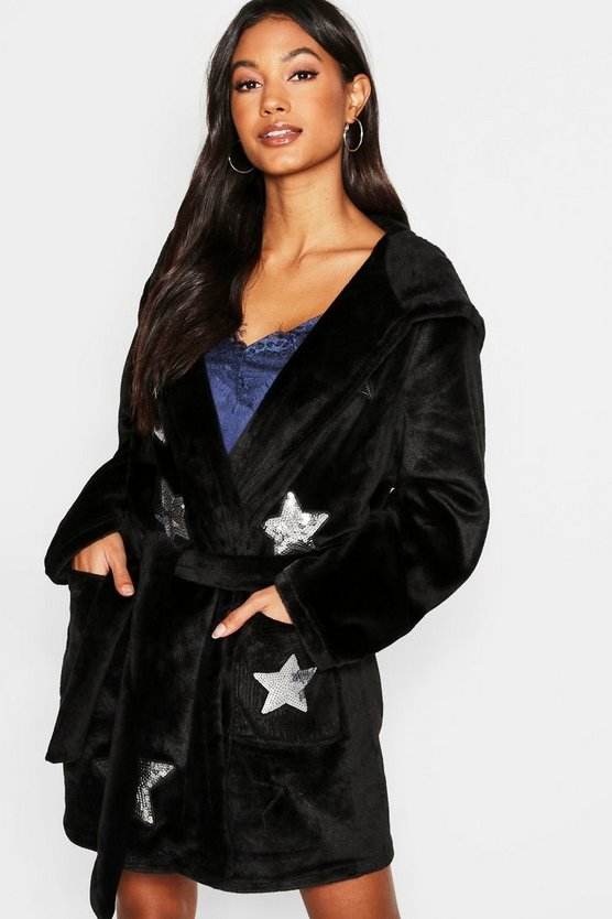 Womens Black Sequin Star Dressing Gown