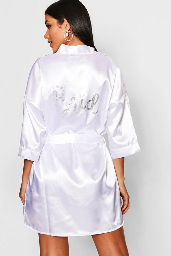 Diamante and Foil Bride Satin Robe