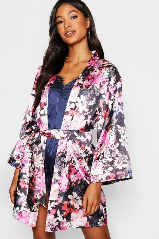 Digital Floral Satin Kimono Robe, Black, Donna