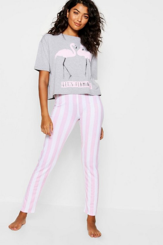 Lets Flamingle Stripe PJ Set