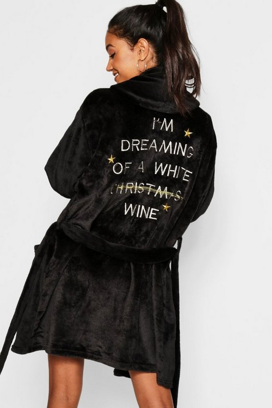 Womens Black White Wine Christmas Dressing Gown