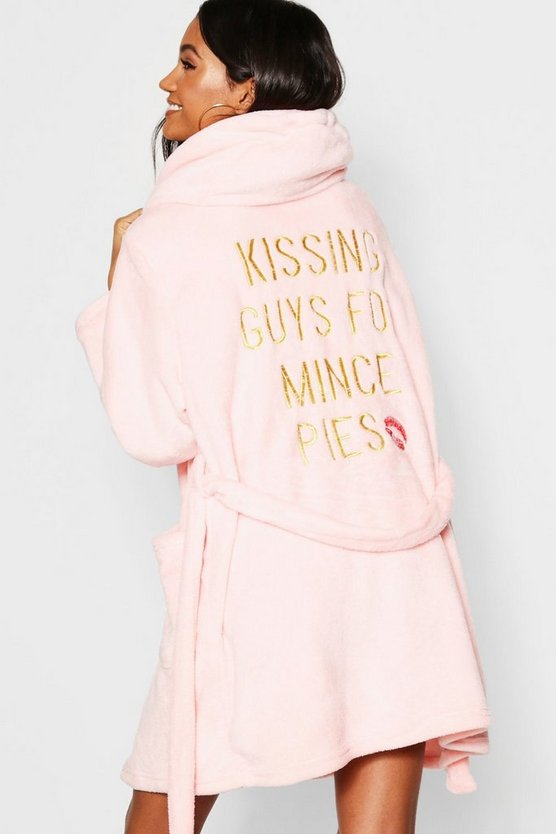 Pink Kissing Guys for Mince Pies Dressing Gown