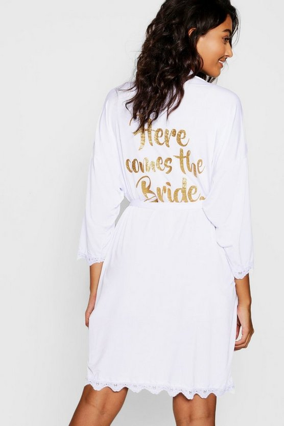 White Here Comes the Bride Lace Detail Robe
