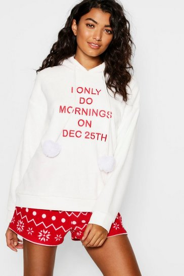 Womens Red Fairisle Slogan Short Set