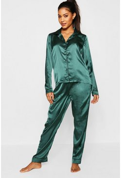 Womens Dark green Scarlett Contrast Piping Satin Set