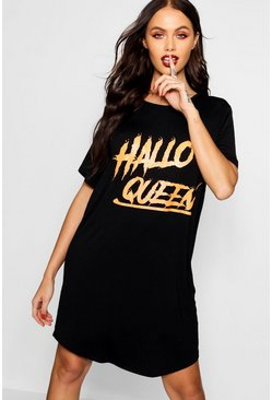 Womens Black Halloween Hallo Queen Tee
