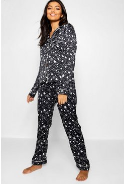 Womens Black Mono Star Print Satin Button Through PJ Set