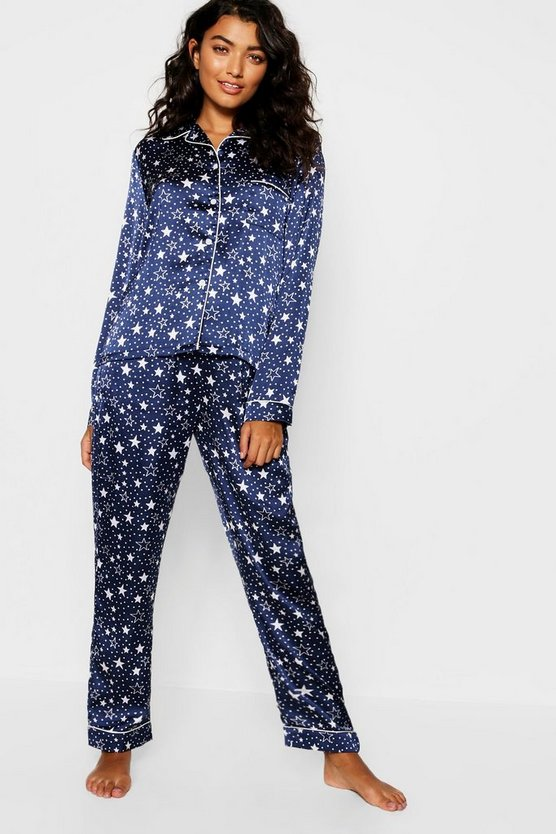 Womens Navy Star Print Satin Button Through PJ Set