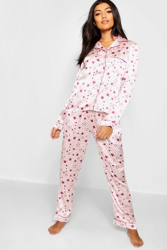 Star Print Satin Button Through PJ Set