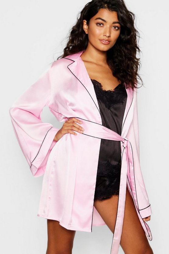 Womens Pink Satin Piped Kimono Robe