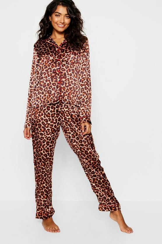 Brown Leopard Satin Contrast Button Down PJ Set