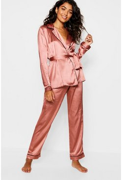 Womens Mink Satin Wrap Front Belted PJ Set