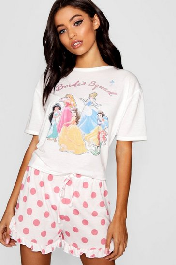 Womens White Disney Princess 'Brides Squad' Frill PJ Short Set