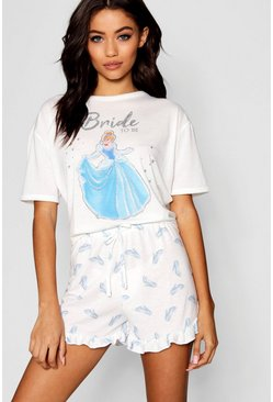 Parure de pyjama short Princesse Disney « Bride To Be » à volants, Blanc
