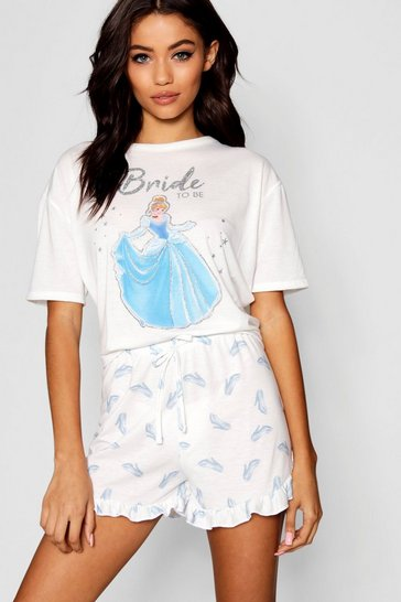 Womens White Disney Cinderella 'Bride To Be' Frill PJ Short Set