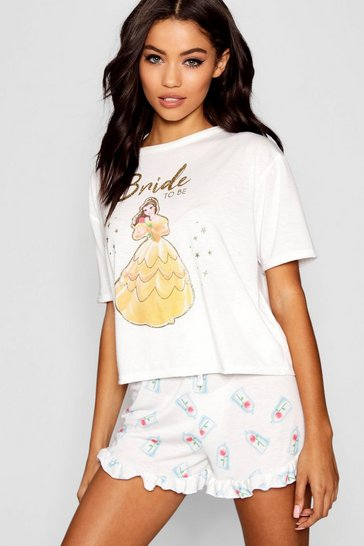 Womens White Disney Belle 'Bride To Be' Frill PJ Short Set