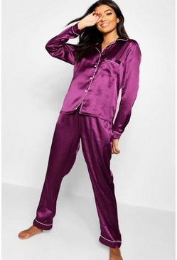 Womens Plum Button Through PJ Set