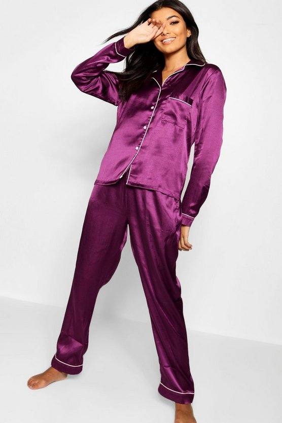 Plum Button Through PJ Set