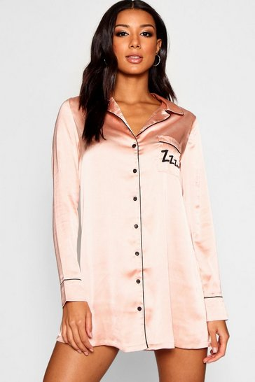 Womens Rose gold ZZZ Satin Piped Night Shirt