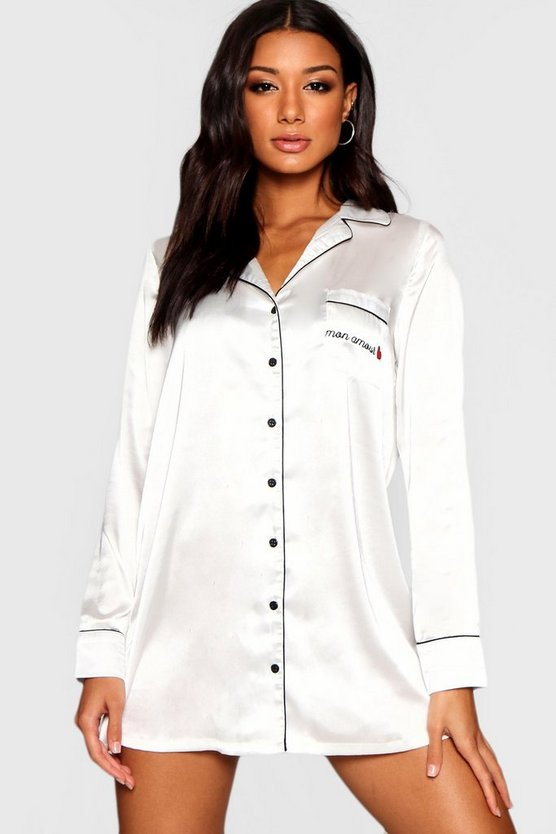 Mon Amour Piped Satin Night Shirt