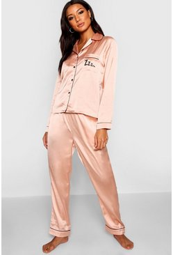 Rose gold Zzz Satin Button Through Pants Set
