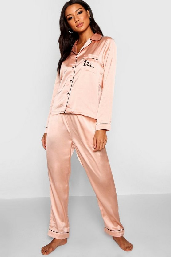 ZZZ Satin Button Through Trouser Set