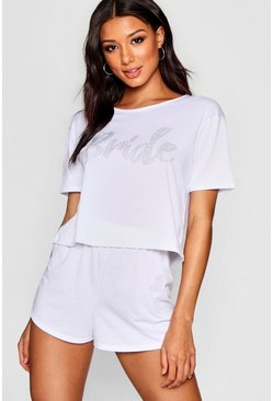 Diamante Bride PJ Short Set, White, Donna