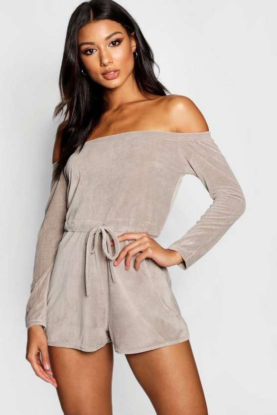 Velour Bardot Lounge Playsuit