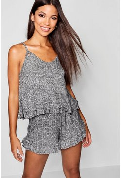 Womens Grey Ruffle Hem Ribbed Lounge Short Set