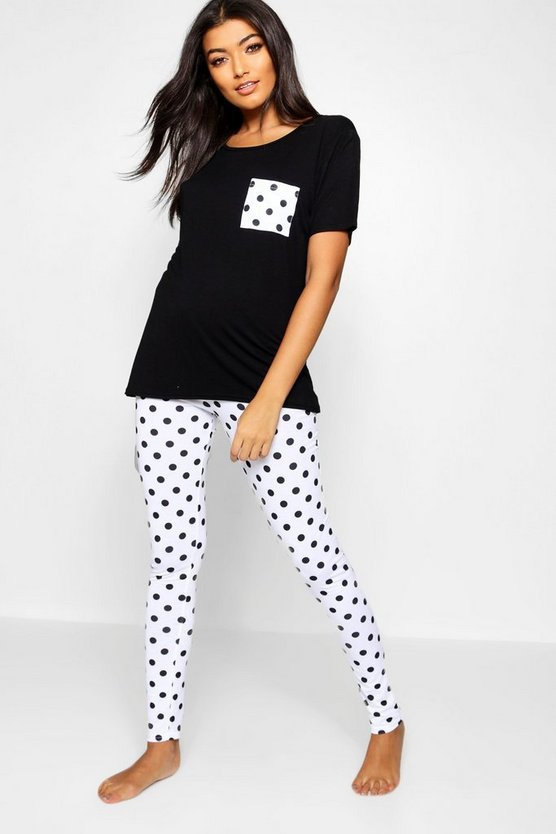 Contrast Polka Dot PJ Set