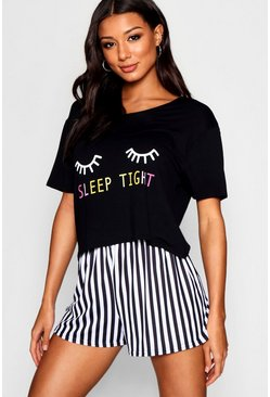 Womens Black Sleep Tight PJ Short Set