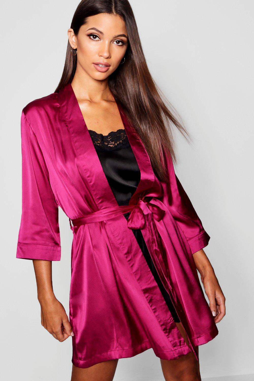 satén Bata burdeos kimono estilo en qfwUXRS
