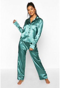 Womens Dark green Satin Button Through Piped PJ Set