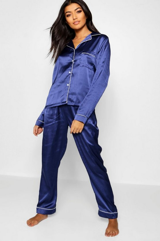Satin Button Through Piped PJ Set