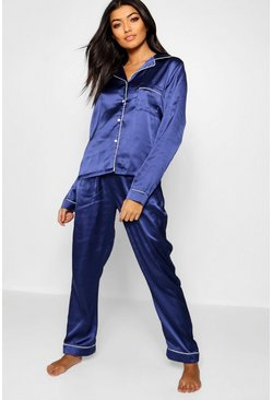 Womens Navy Satin Button Through Piped PJ Set