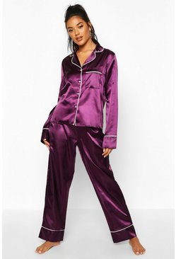 Plum Satin Button Through Piped PJ Set