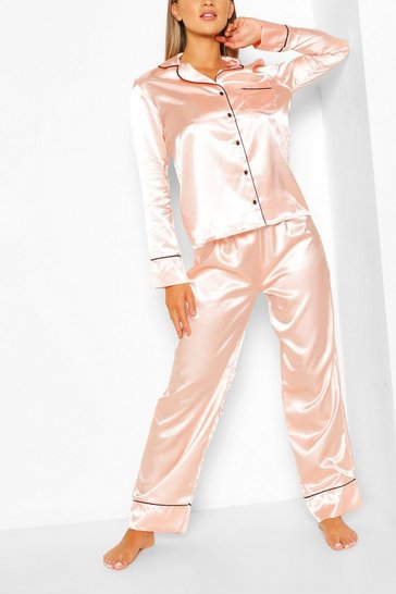 Rose gold Satin Button Through Piped PJ Set