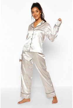 Silver Satin Button Through Piped PJ Set