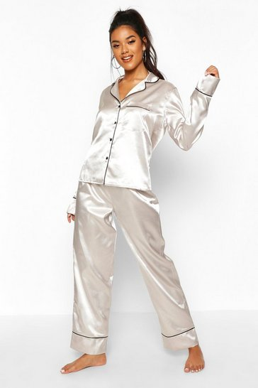 Womens Silver Satin Button Through Piped PJ Set