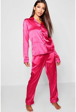 Womens Pink Bright Rose Button Through PJ Set