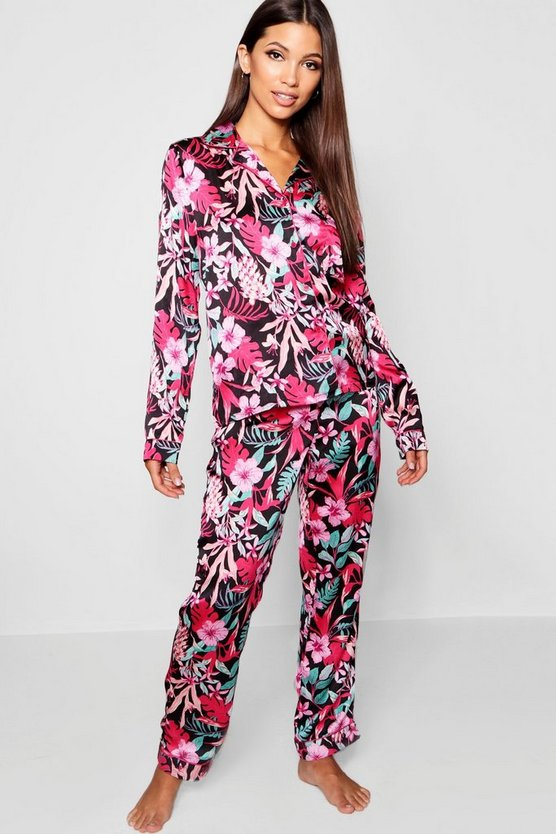 Bright Floral Button Through PJ Set