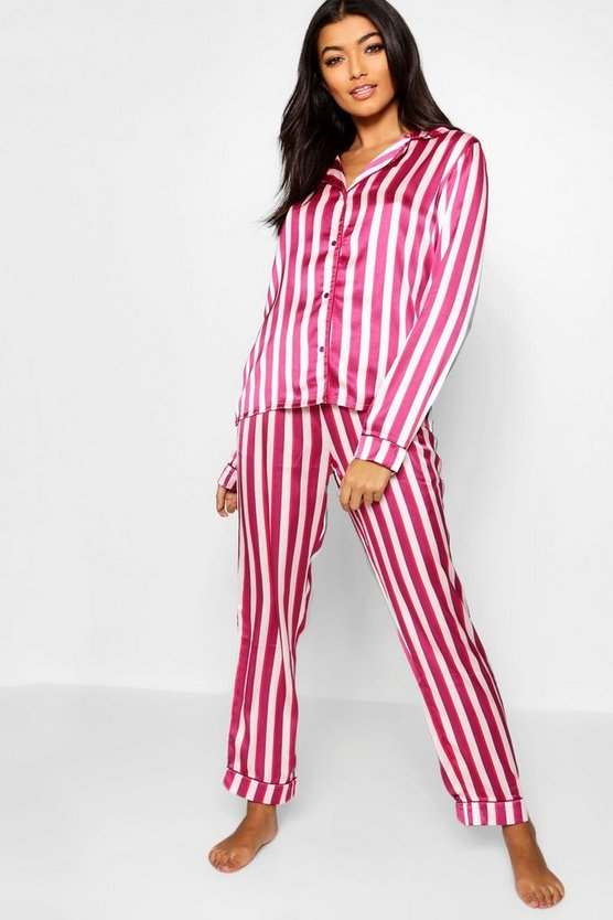 Satin Stripe Button Through PJ Set