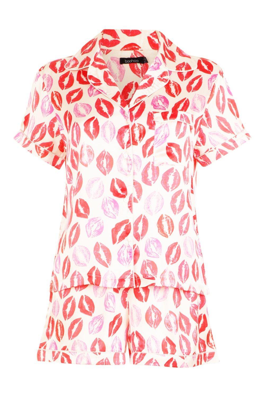 abotonados labios estampado con rosa de Conjunto shorts con YRxfnSwwEq